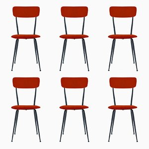 Customizable Italian Iron Frame Dining Chairs, 1950s, Set of 6