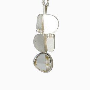 Silber und Bergkristall Halsketten-Anhänger von Jorma Laine für Turun Hopea 1974