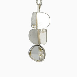 Silver and Rock Crystal Pendant by Jorma Laine for Turun Hopea, 1974