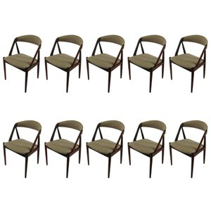 Customizable Teak Dining Chairs by Kai Kristiansen for Schou Andersen, 1960s, Set of 10