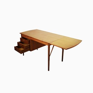 Scandinavian Extendable Teak Desk with Three Drawers