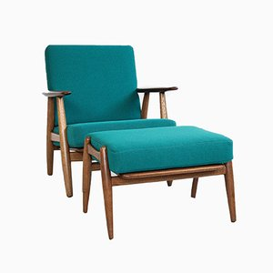Mid-Century Cigar Chair and Ottoman by Hans Wegner for Getama, 1950s