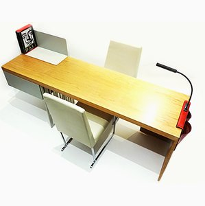 Contemporary Scriba Desk by Patricia Urquiola for Molteni&Co with 2 B&B Italia Solo Leather Chairs