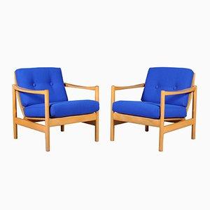 Oak & Fabric Lounge Chairs, 1970s, Set of 2