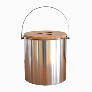 Mid-Century Steel and Teak Cylinda Line Ice Bucket by Arne Jacobsen for Stelton, 1960s