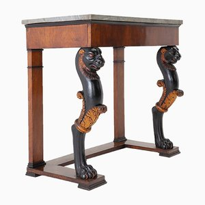 Early 19th-Century Walnut Console Table with Marble Top