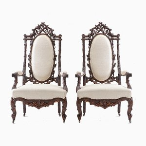 19th-Century Black Forest Open Armchairs, Set of 2
