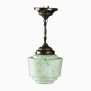 Small Art Déco Ceiling Lamp in Green Marbled Glass, 1930s