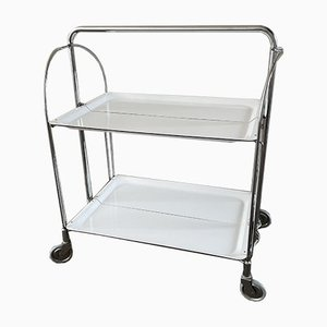 Folding Dinett Serving Trolley in White from Bremshey & Co., 1970s