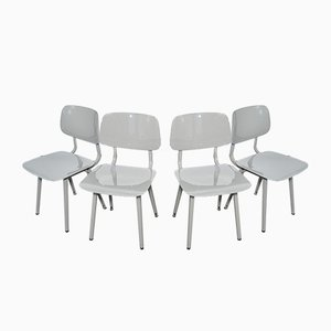 Vintage Revolt Light Gray Chairs by Friso Kramer for Ahrend, 2004, Set of 4