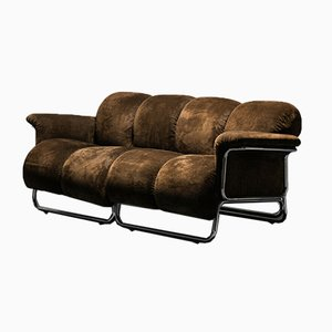 Vintage 2-Seater Tubular Sofa in Brown Fabric, 1970s