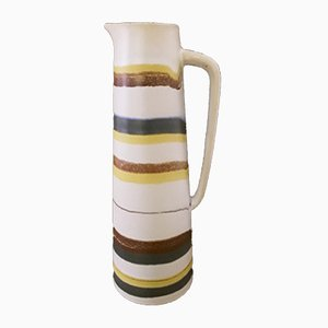 Vintage Ceramic 4055 B Pitcher or Vase with Cream White Glaze and Colored Stripes, 1960s