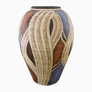 Vintage Handmade Ceramic 305 25 Vase with Bulbous Shape in Red, Blue and Cream White Glaze, 1970s