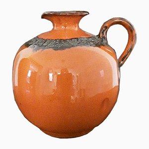 Handgemachter Vintage Fat Lava Stil 69 20 Krug oder Vase aus orange-braun glasierter Keramik, 1960er