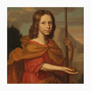 Antique Italian Portrait Painting, 17th-Century