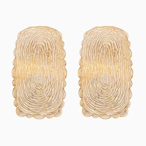 Amber Glass Sconces with Thumbprint Shapes from Limburg, Germany, 1970s, Set of 2