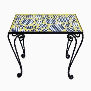 Kleiner Tisch aus Mosaik & Schmiedeeisen