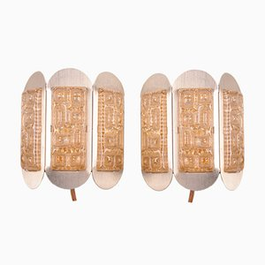 Vintage Wall Lamps with Relief from Vitrika, 1960s, Set of 2