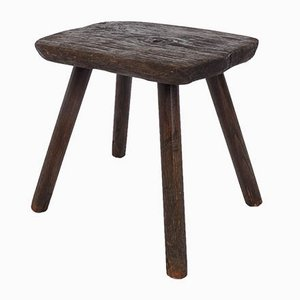Brutalist Solid Wood Stool, Swiss Mountains