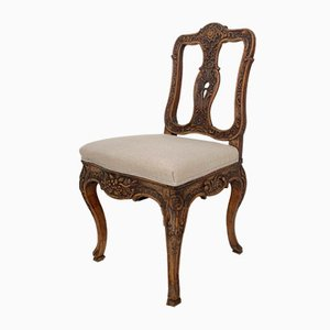 18th-Century German Baroque Chair in Carved Walnut, 1740s