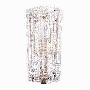Große dänische Wandlampe aus Glas & Messing von Carl Fagerlund für Orrefors, 1960er