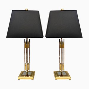 Mid-Century Gold and Chrome Table Lamps by Willy Rizzo, 1970, Set of 2