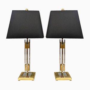 Mid-Century Tischlampen aus Gold & Chrom, 1970, 2er Set