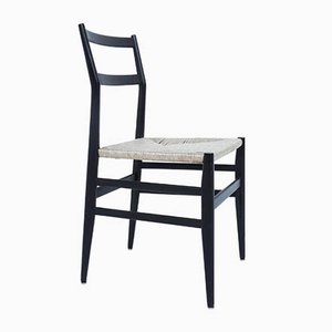 Black Lacquered 646 Leggera Chair in Rope by Gio Ponti for Cassina
