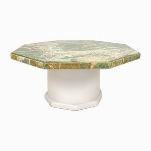 Mid-Century Green Octagon Onyx Coffee Table with Round Off-White Wood Base, 1970s