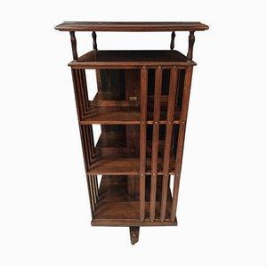 Drehbares Bücherregal aus Nussholz