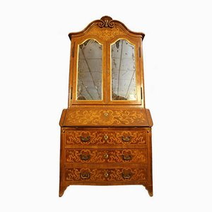 Louis XV Style Curved Secretaire Cabinet in Walnut and Marquetry