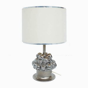 Silvered Ceramic Table Lamp with Fruit Basket