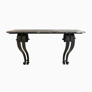 Art Deco French Console Table in Forged Metal and Marble by Raymond Subes, 1925