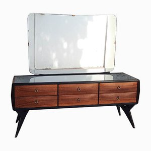 Rosewood Sideboard with 6 Drawers & Mirror in Silver Glass, Italy, 1950s