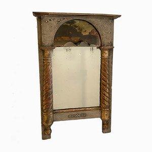 Kleiner vergoldeter französischer Empire Spiegel mit Glasmalerei, frühes 19. Jh