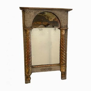 Small Early 19th-Century French Empire Gilded Mirror with Glass Painting