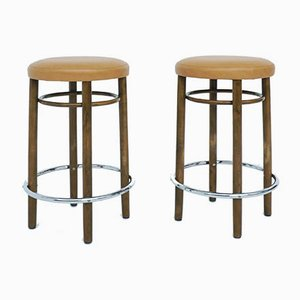 Mod. Nr. 17 High Bar Stools in Eco Leather by Michael Thonet for Thonet, 1981, Set of 2