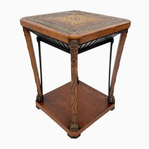 French Art Deco Chemist Side Table with Mosaic Top and Carved Base, 1920s