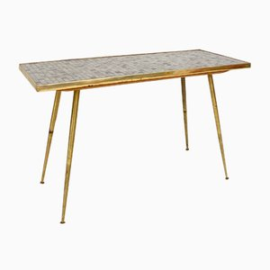 Mid-Century German Mosaic and Brass Side Table in the Style of Berthold Muller