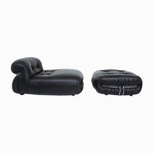 Mod. Soriana Sessel & Fußhocker Set aus schwarzem Leder von Tobia & Afra Scarpa für Cassina