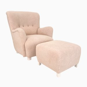 Mid-Century Danish Shearling High Back Wing Chair & Ottoman, 1950s, Set of 2