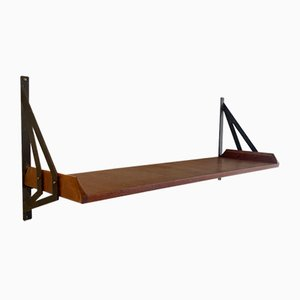 Mid-Century Italian Wall Shelf in Teak and Black Lacquered Metal, 1950s