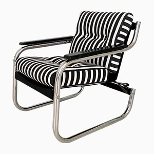 Mid-Century German Chrome Cantilever Armchair with Black and White Stripes, 1970s