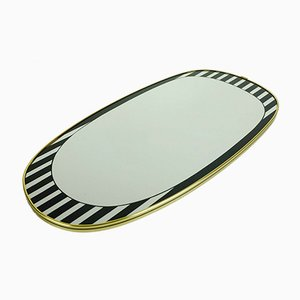Mid-Century Oval Wall Mirror with Stripes, 1950s