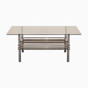 Bauhaus Tubular Frame Coffee Table with Double Smoked Glass Top, 1950s