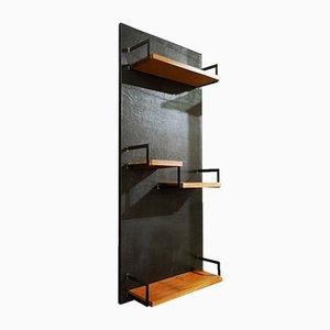 Leather and Teak Wall Shelf