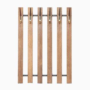 Vintage Holz Garderobe mit Messing & Kunststoff Haken