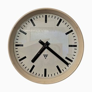 Large Czech Cream Bakelite Office or Factory Clock from Pragotron, 1950s