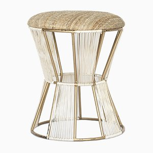 Vintage Stool in Gold with Fabric Cover