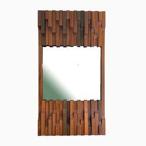 Italienischer Spiegel mit Holzrahmen von Luciano Frigerio, 1970er